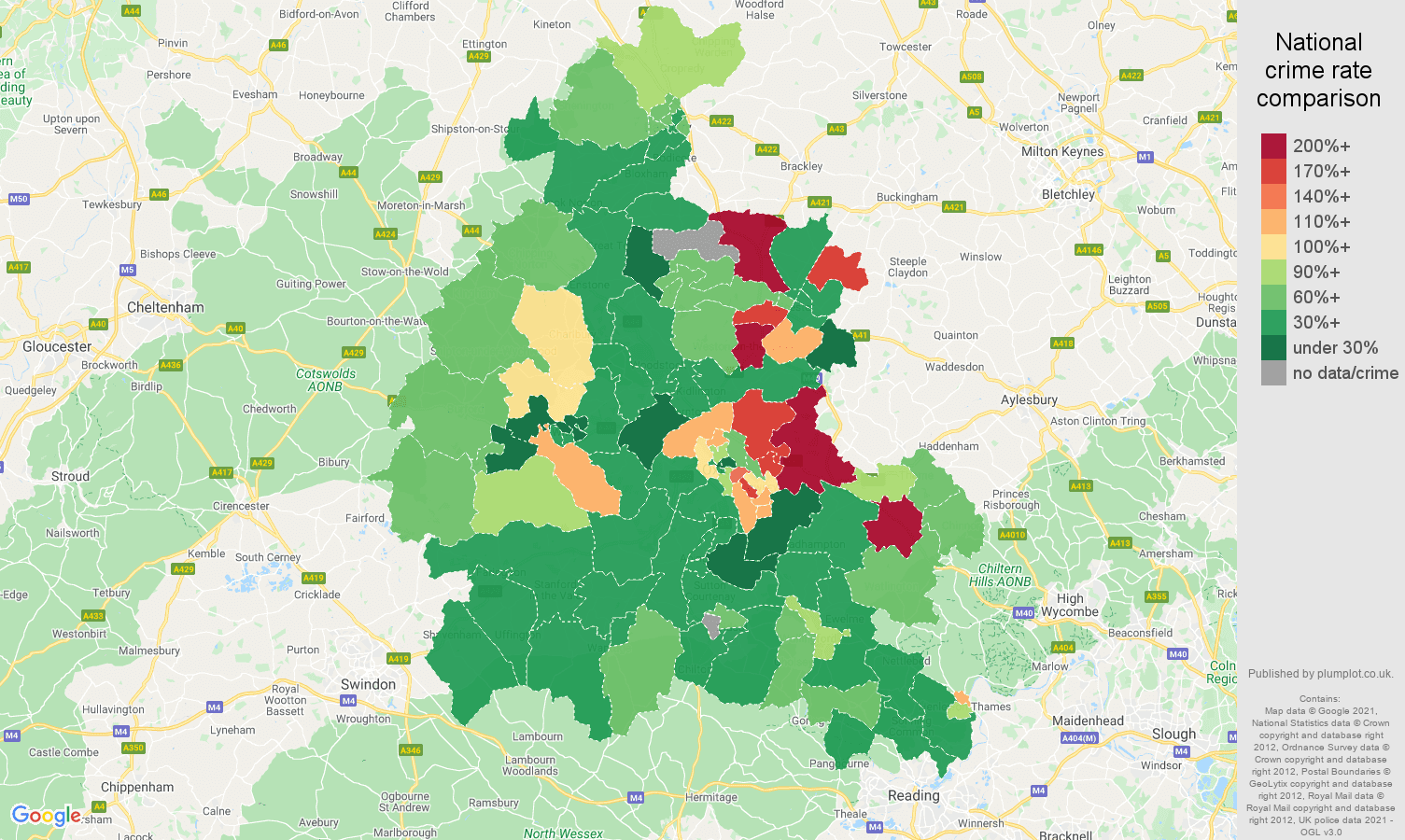 Oxfordshire vehicle crime rate comparison map