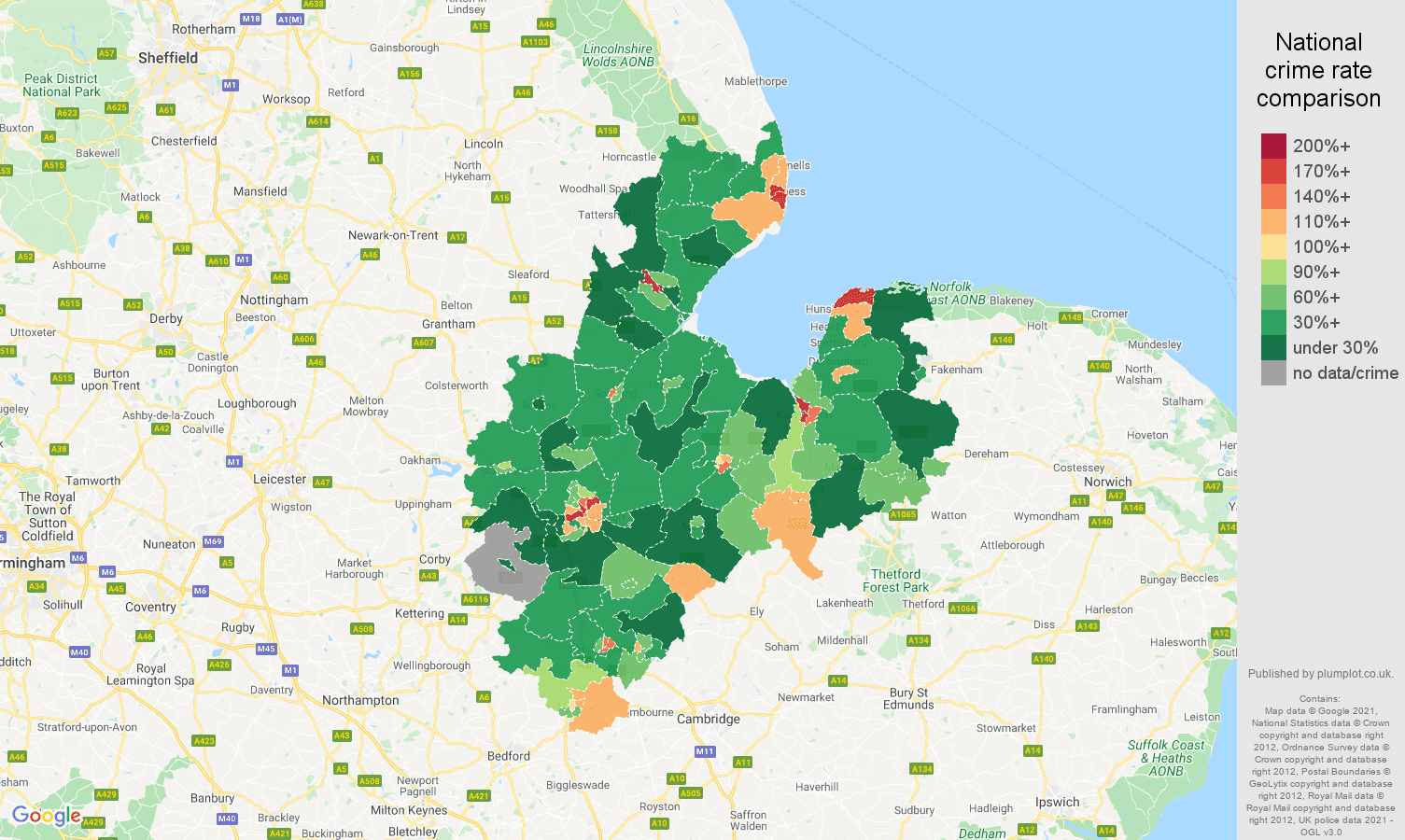 Peterborough drugs crime rate comparison map