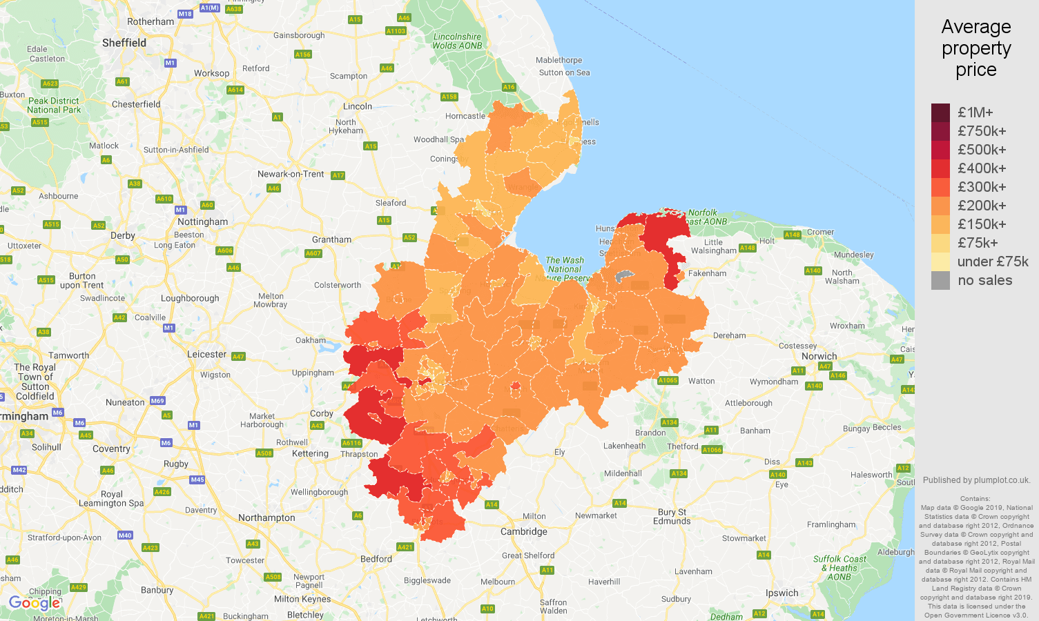 Peterborough house prices map