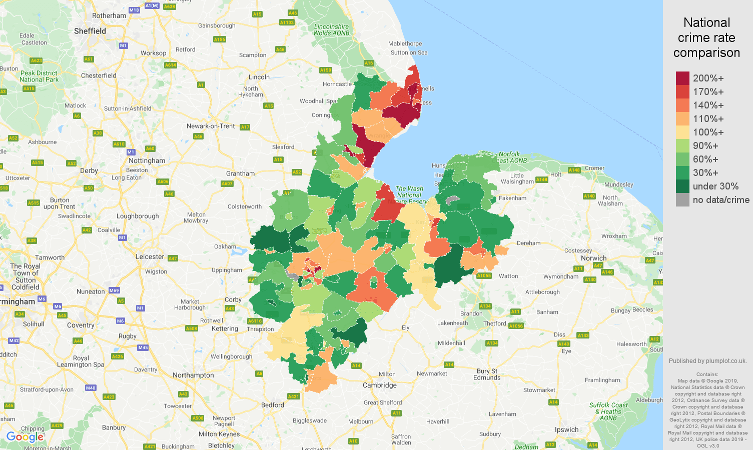 Peterborough other crime rate comparison map
