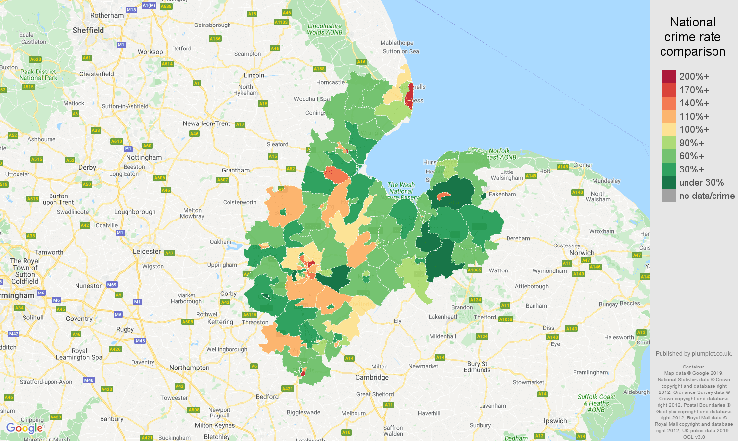 Peterborough other theft crime rate comparison map