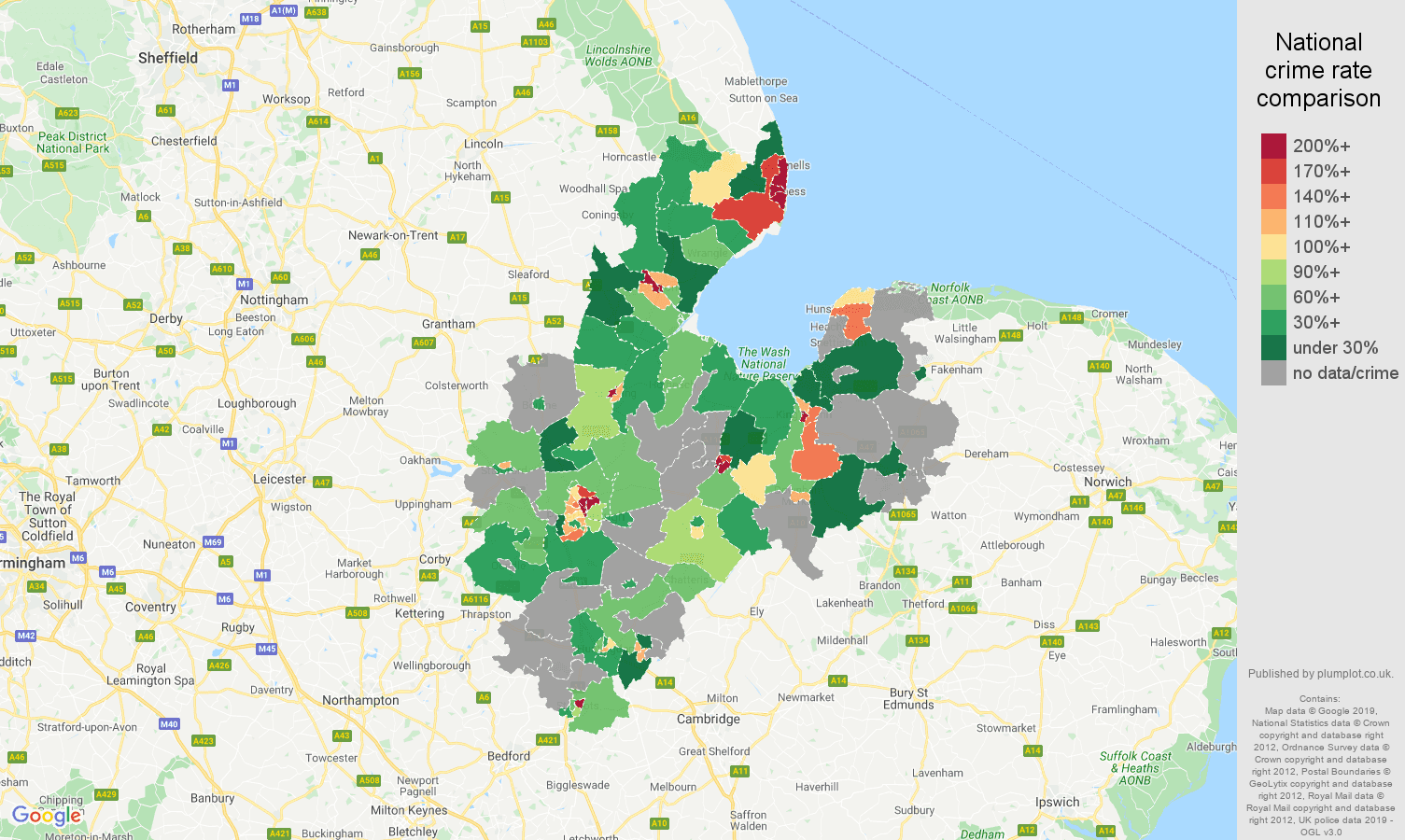Peterborough possession of weapons crime rate comparison map