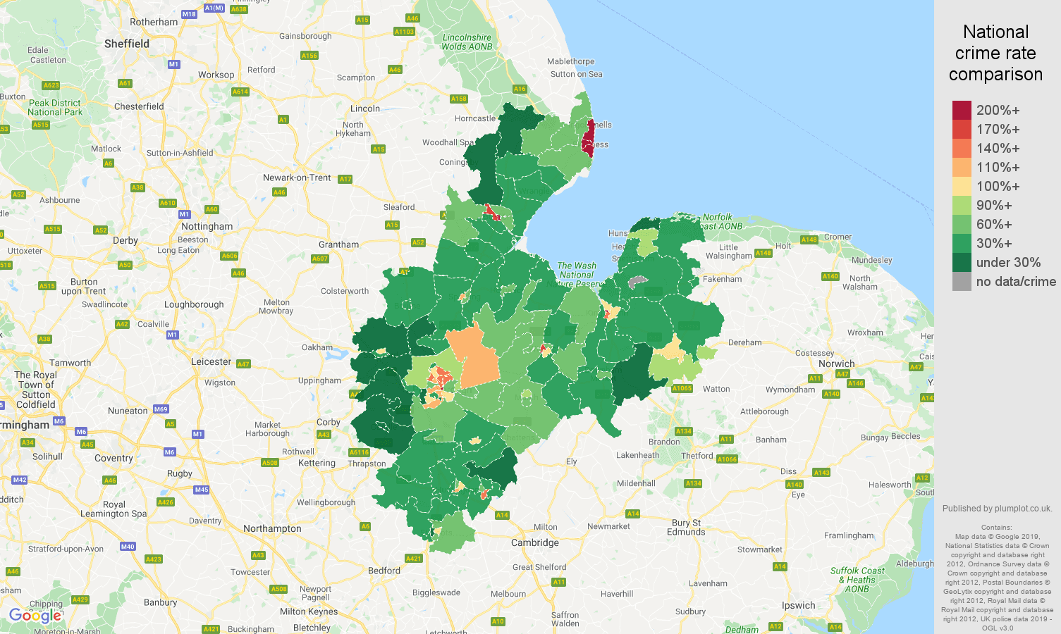 Peterborough public order crime rate comparison map