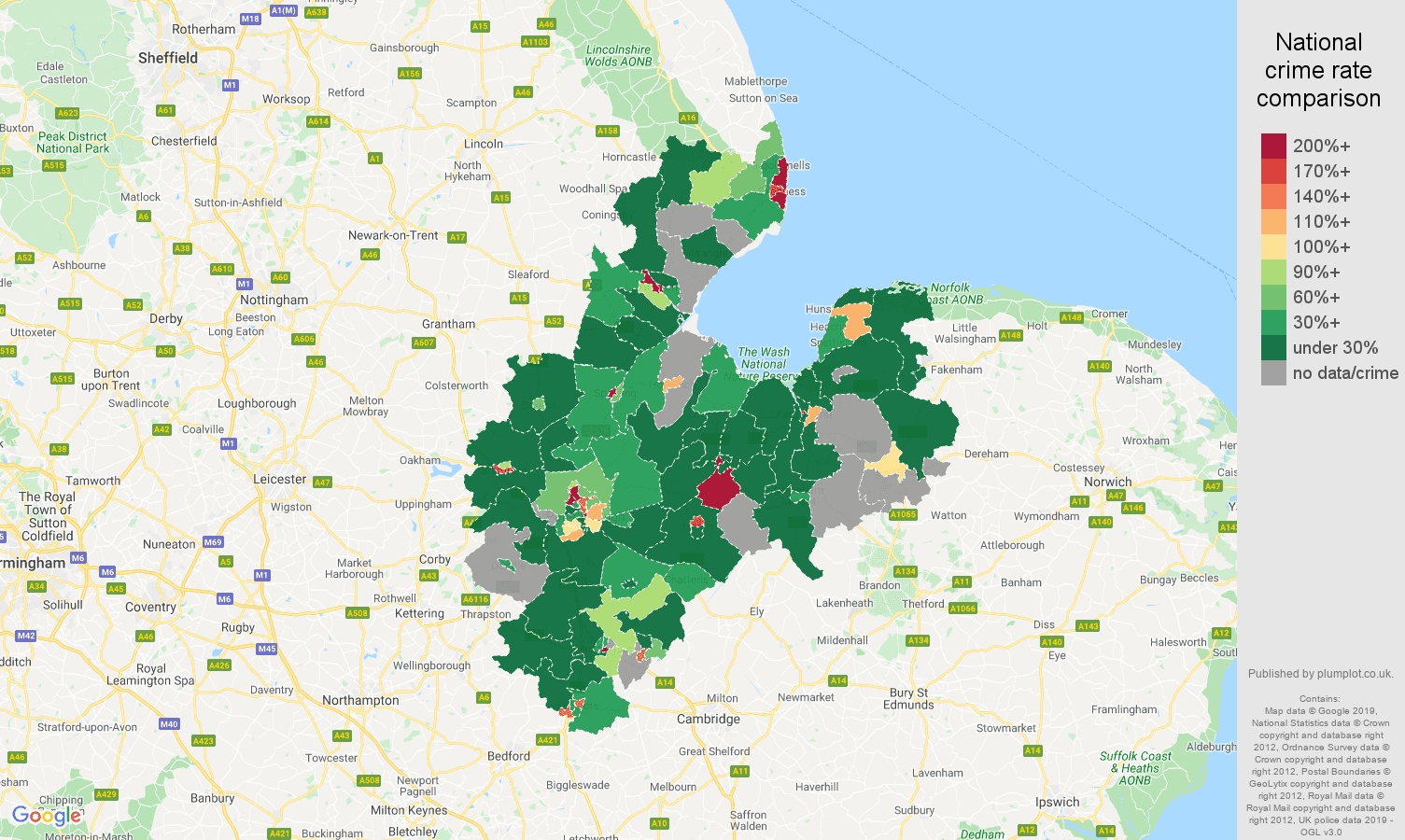 Peterborough shoplifting crime rate comparison map