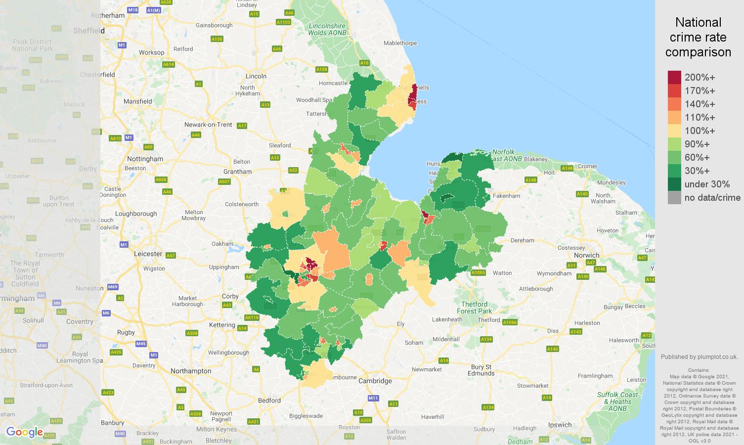 Peterborough violent crime rate comparison map