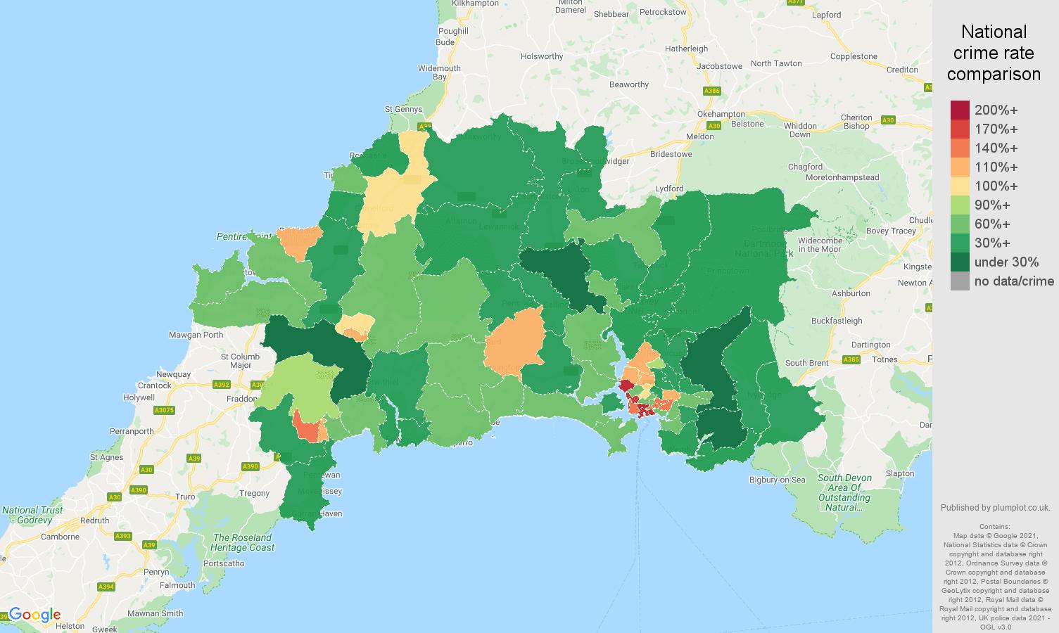 Plymouth antisocial behaviour crime rate comparison map