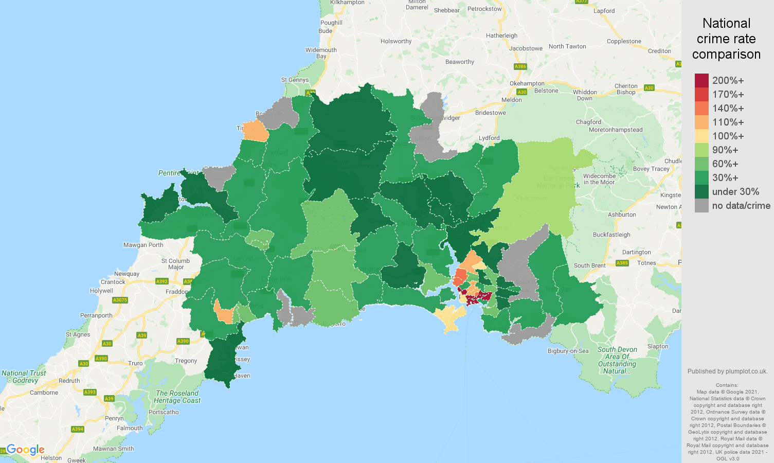 Plymouth drugs crime rate comparison map