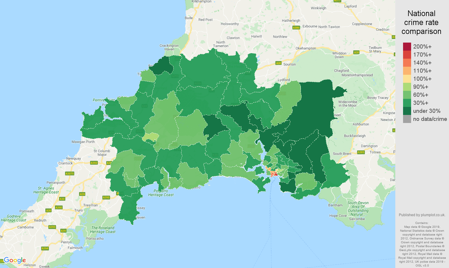 Plymouth other theft crime rate comparison map