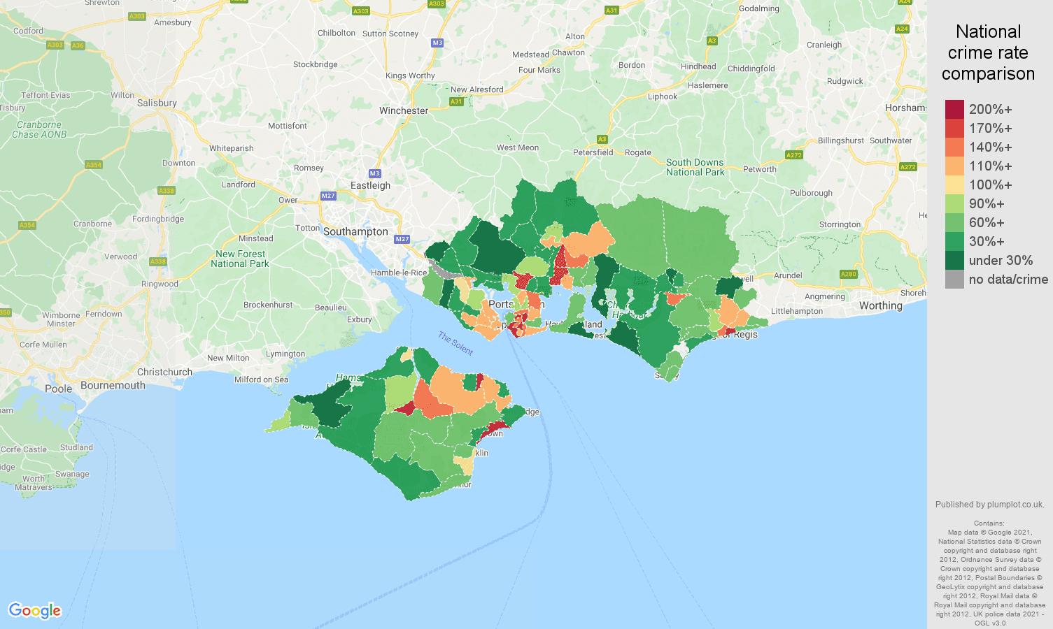 Portsmouth drugs crime rate comparison map