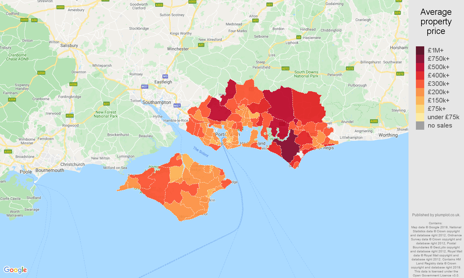 Portsmouth house prices map