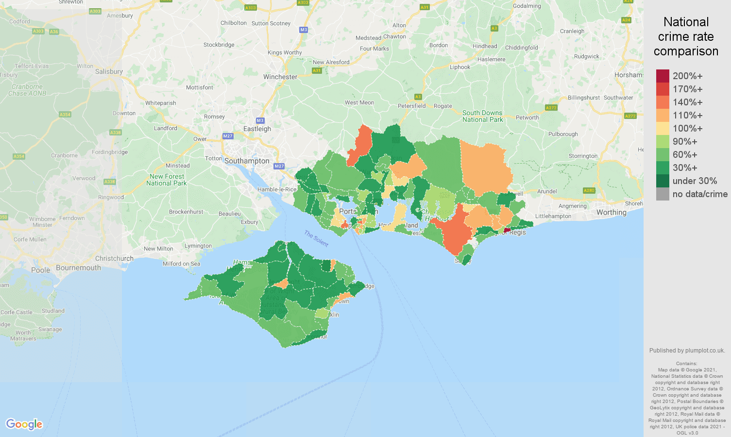 Portsmouth other theft crime rate comparison map