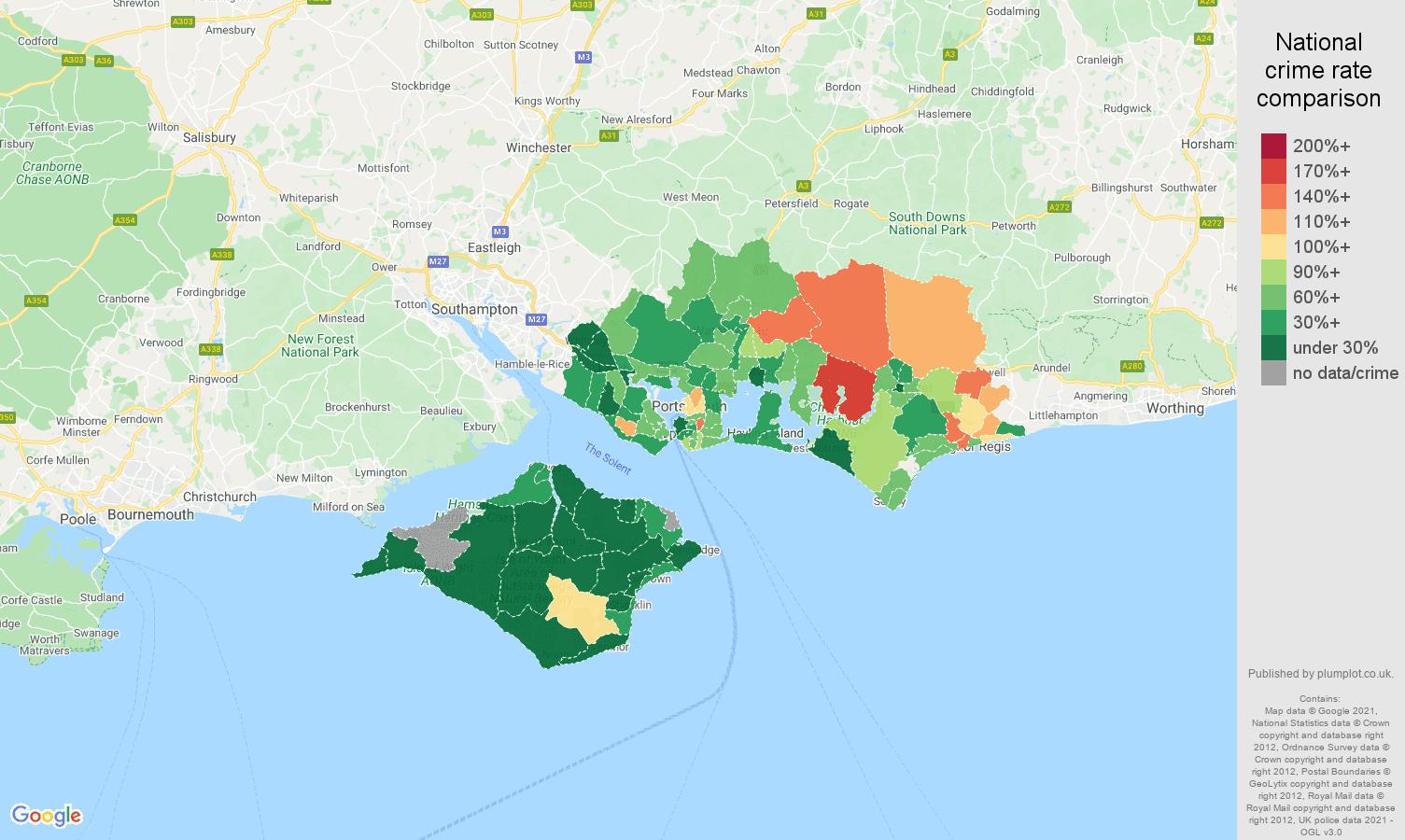 Portsmouth vehicle crime rate comparison map