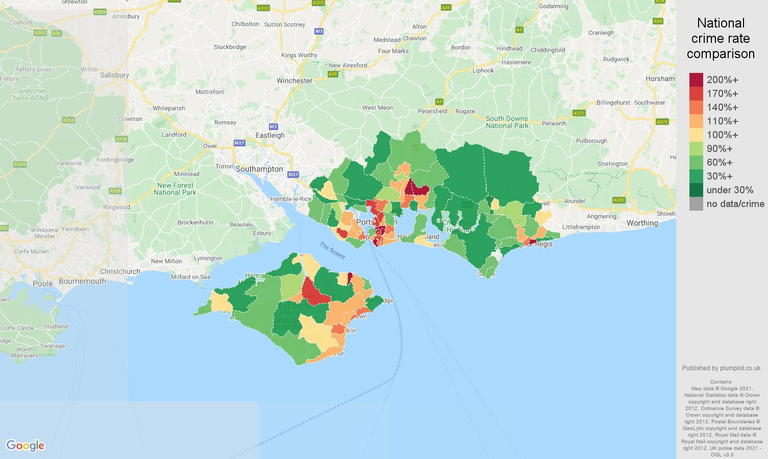 Portsmouth violent crime rate comparison map