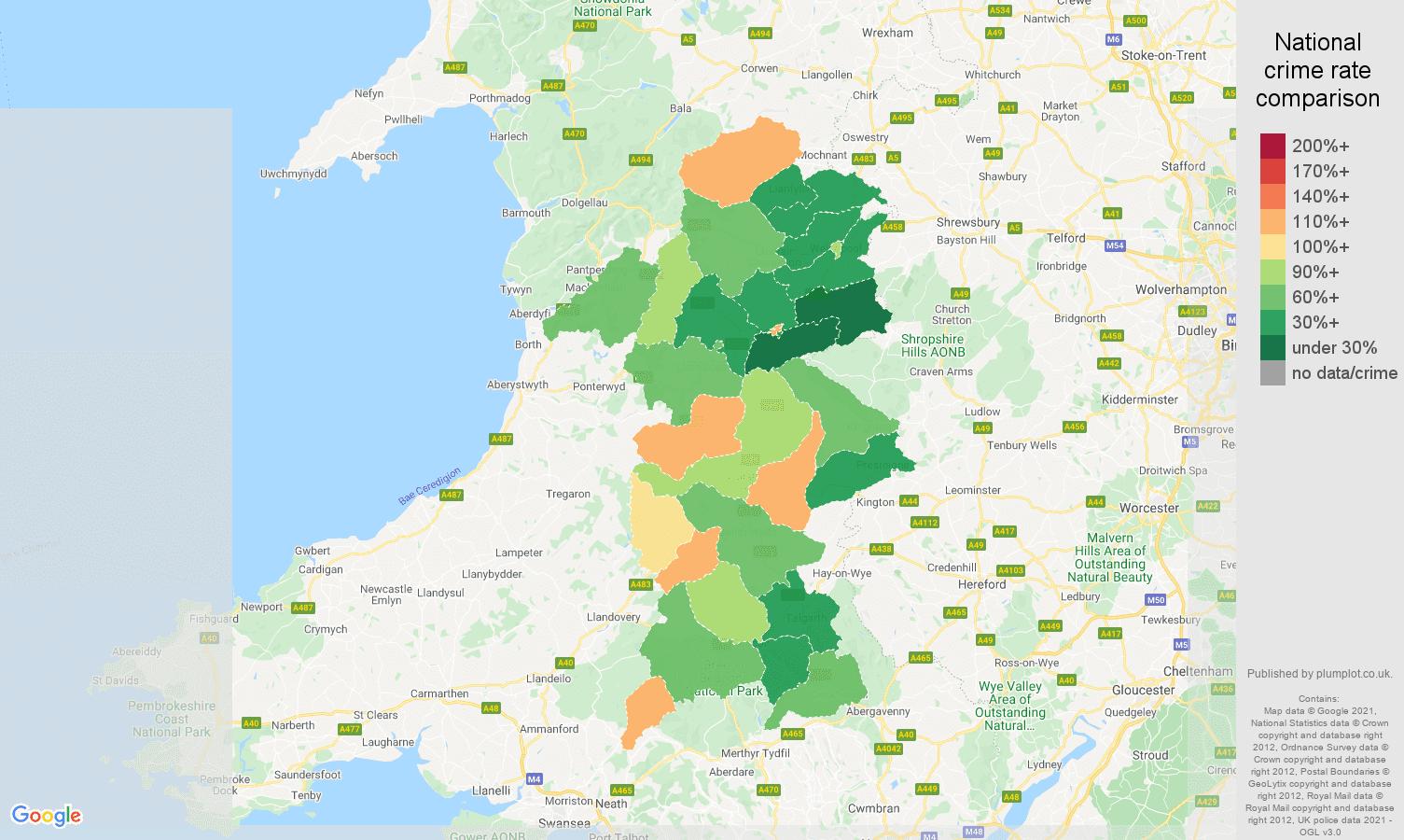 Powys antisocial behaviour crime rate comparison map