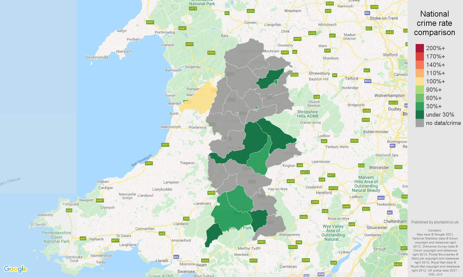 Powys bicycle theft crime rate comparison map