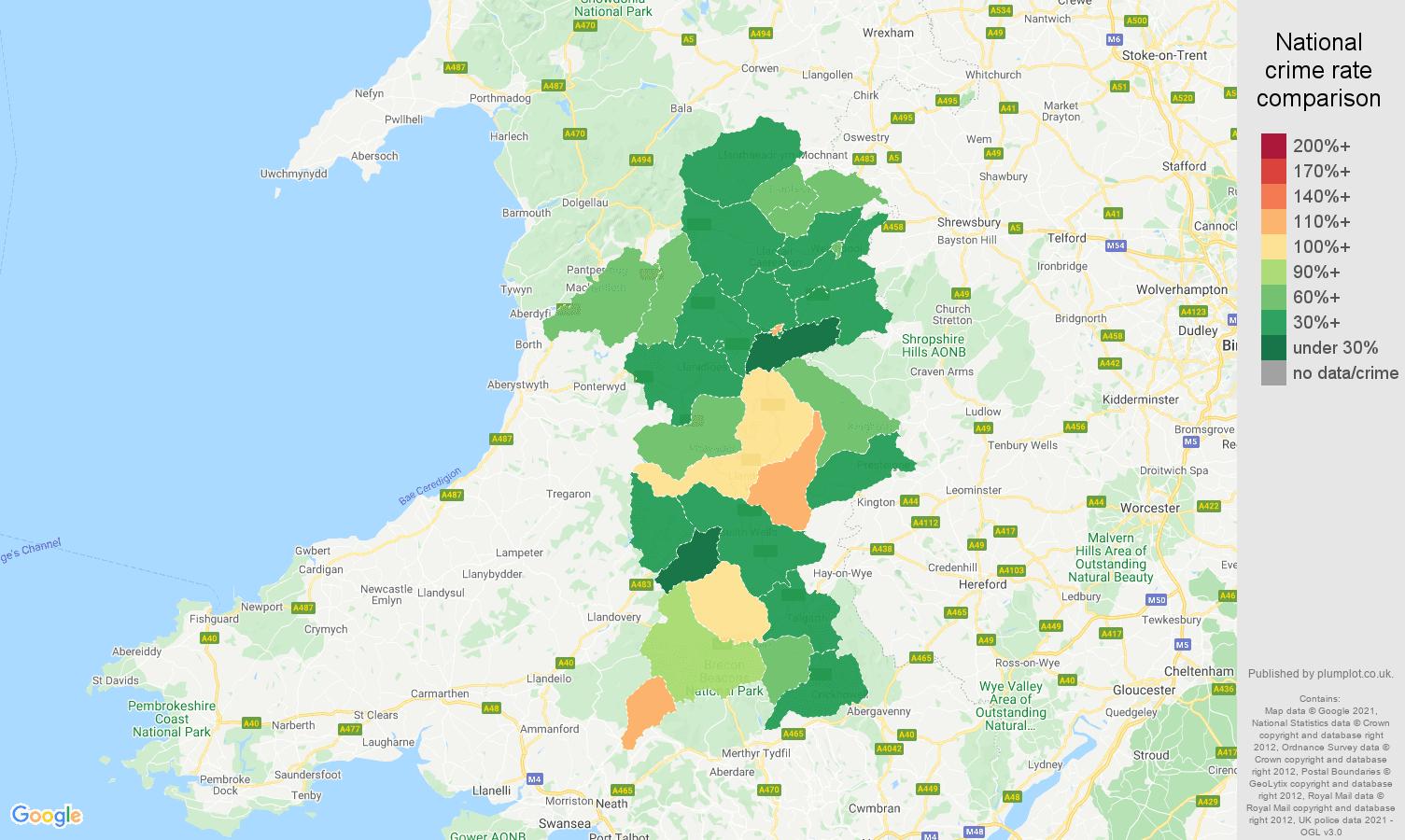 Powys violent crime rate comparison map