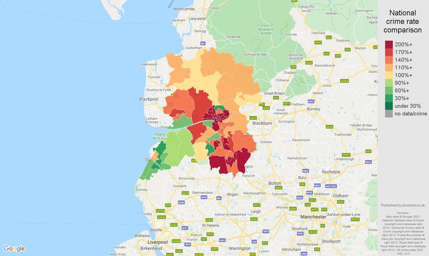 Preston antisocial behaviour crime rate comparison map