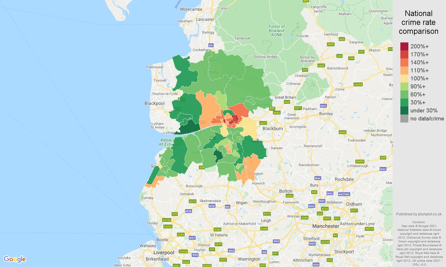 Preston burglary crime rate comparison map