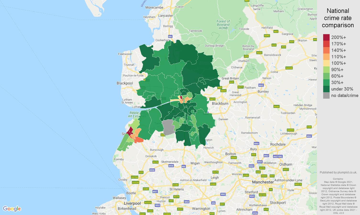 Preston drugs crime rate comparison map