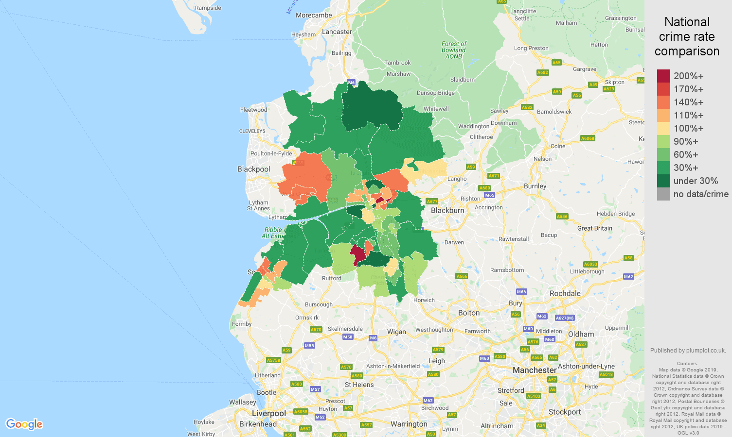 Preston other crime rate comparison map