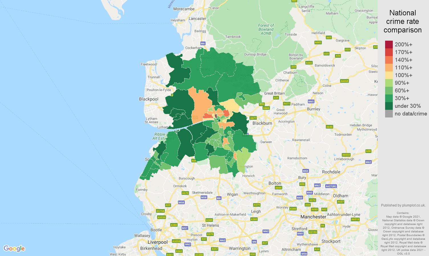 Preston vehicle crime rate comparison map