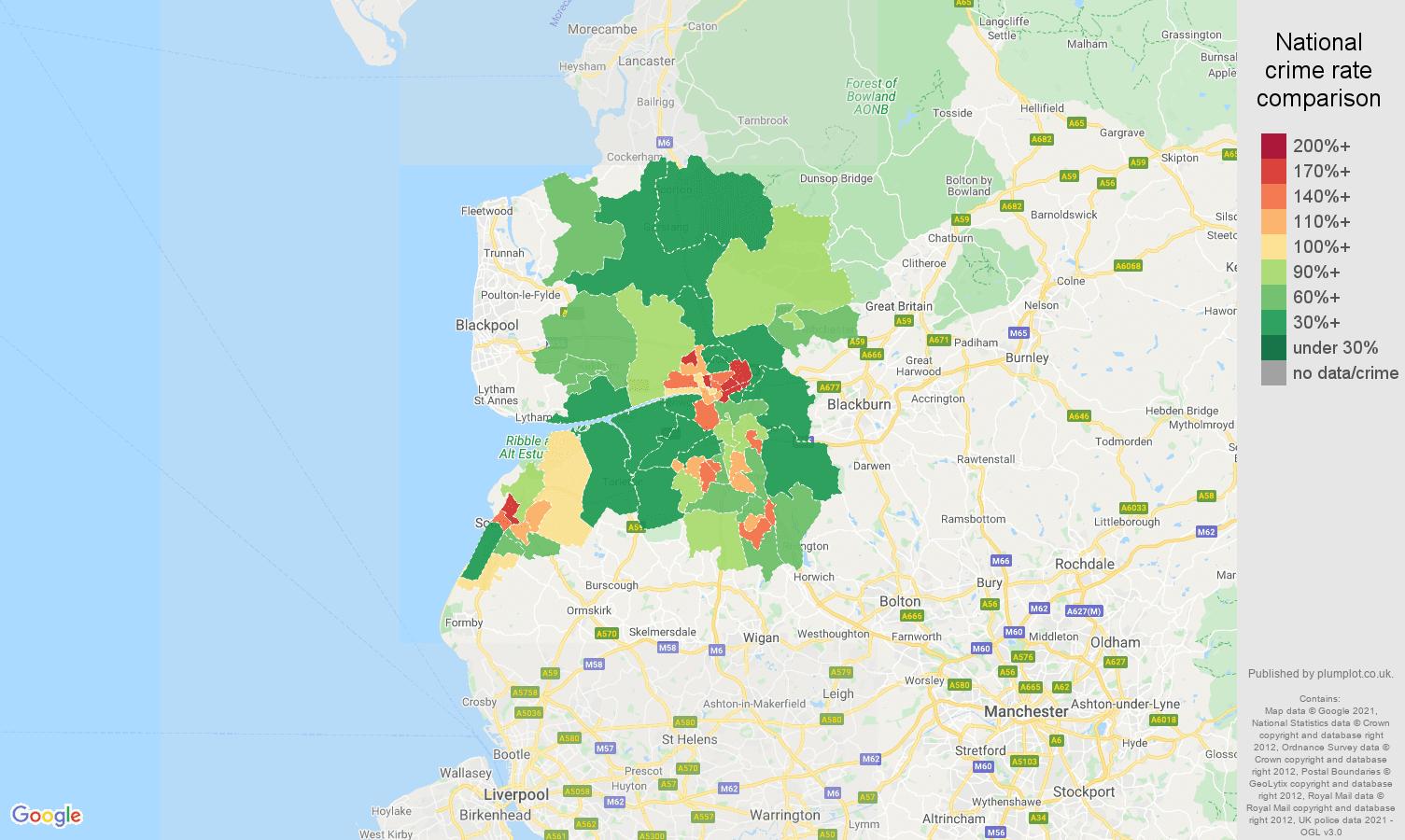 Preston violent crime rate comparison map