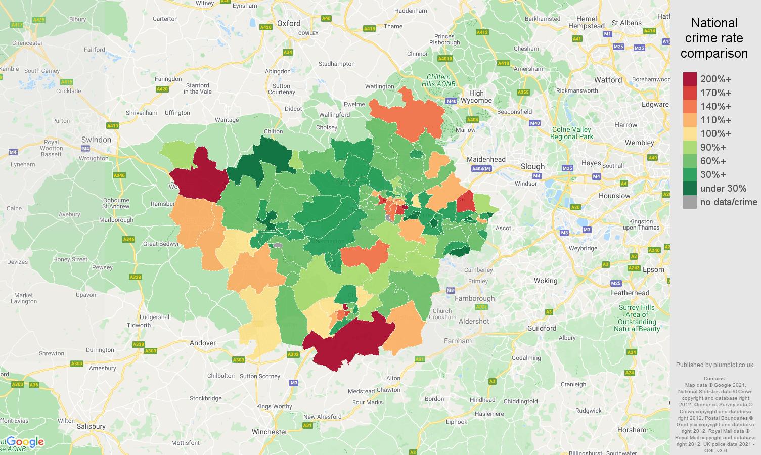 Reading burglary crime rate comparison map