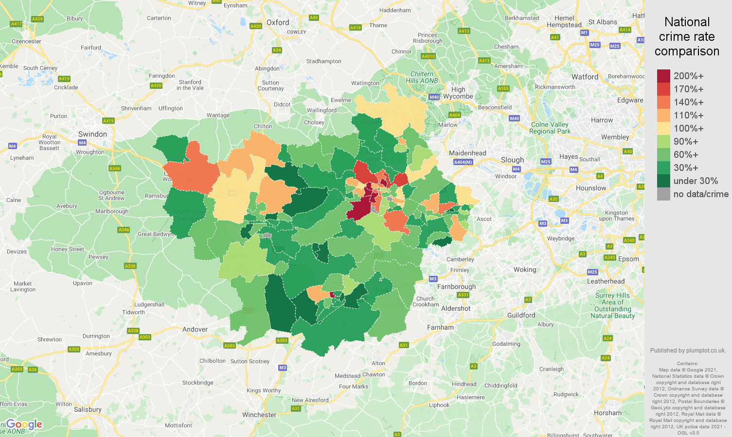 Reading vehicle crime rate comparison map