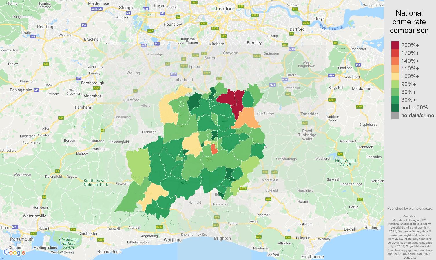 Redhill burglary crime rate comparison map