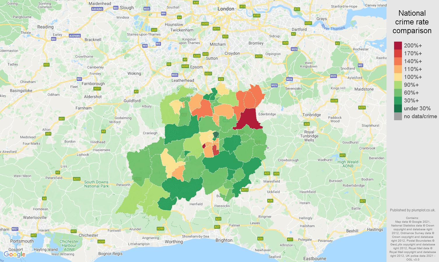 Redhill criminal damage and arson crime rate comparison map