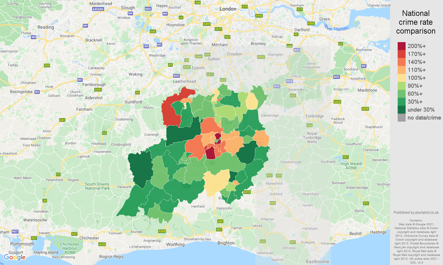 Redhill drugs crime rate comparison map