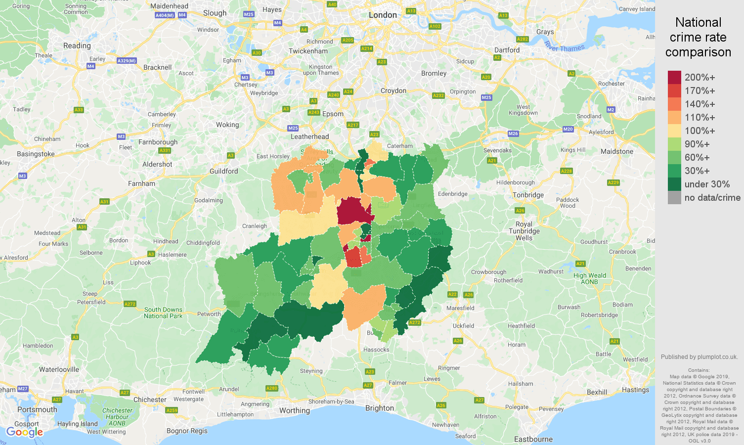 Redhill other crime rate comparison map