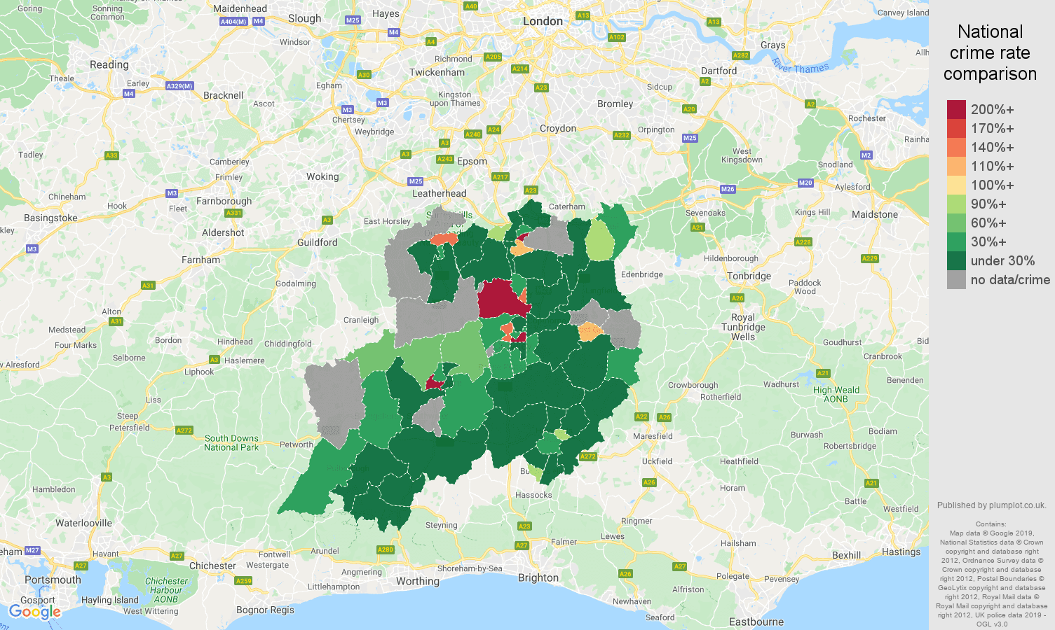 Redhill shoplifting crime rate comparison map