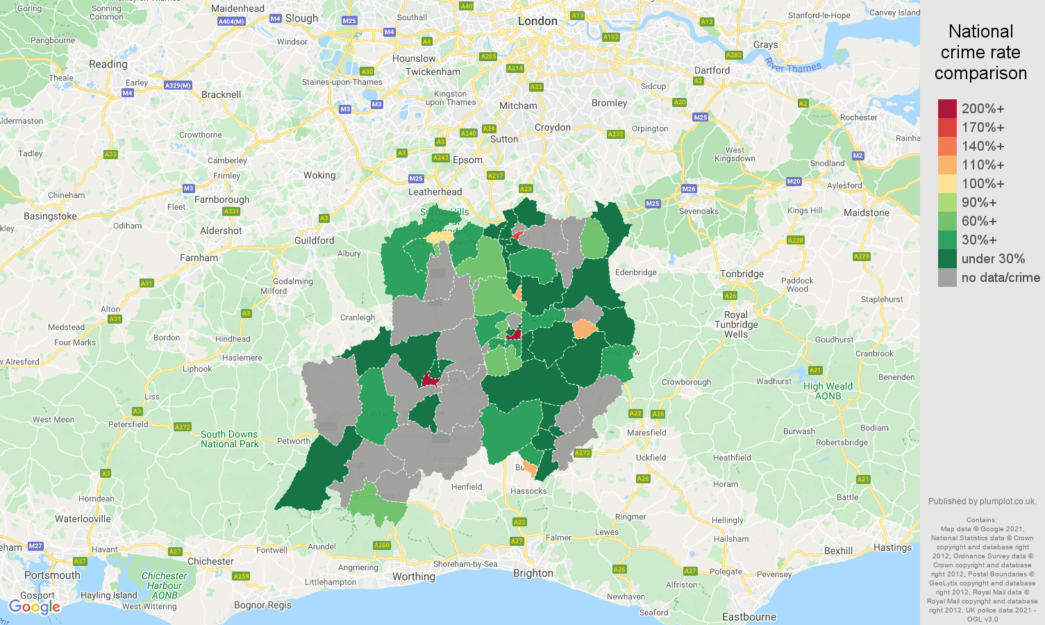 Redhill theft from the person crime rate comparison map