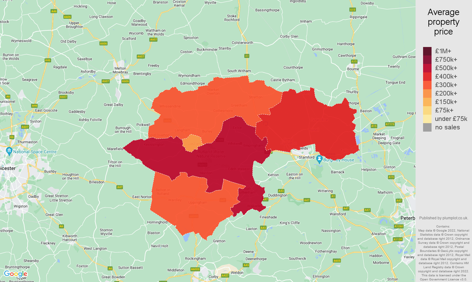 Rutland house prices map