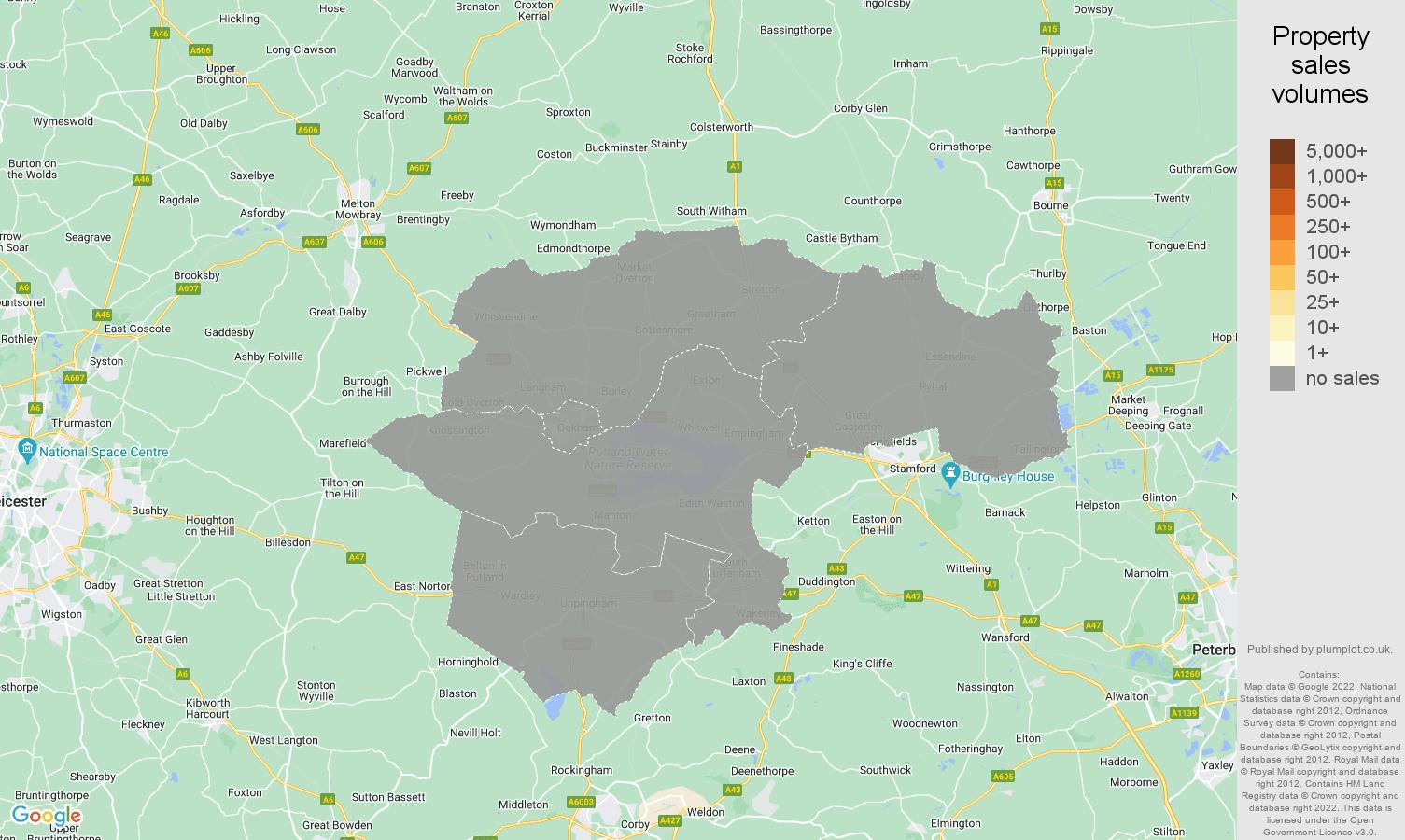 Rutland map of sales of new properties