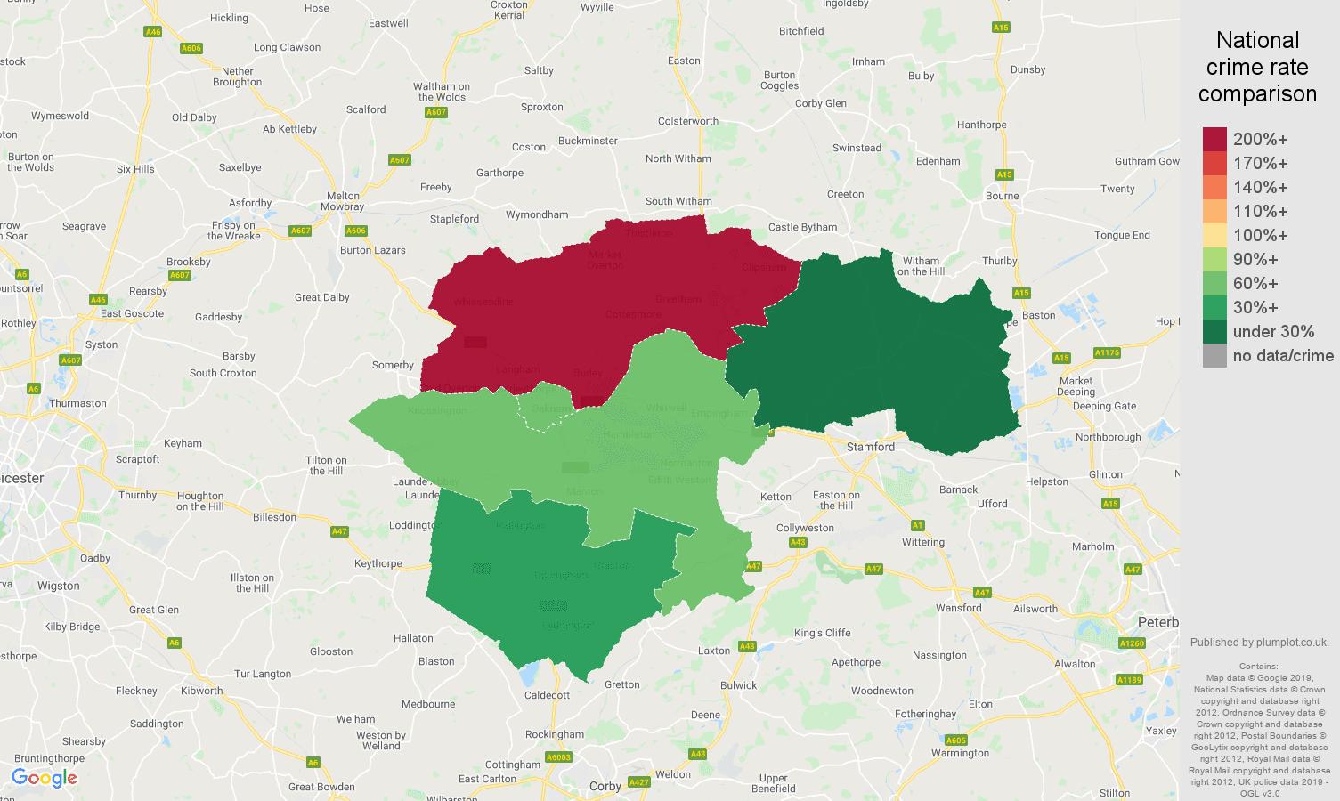 Rutland other crime rate comparison map