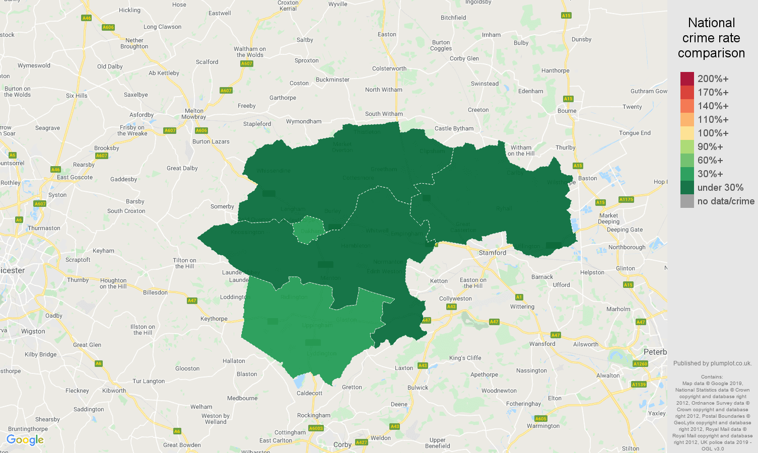 Rutland public order crime rate comparison map