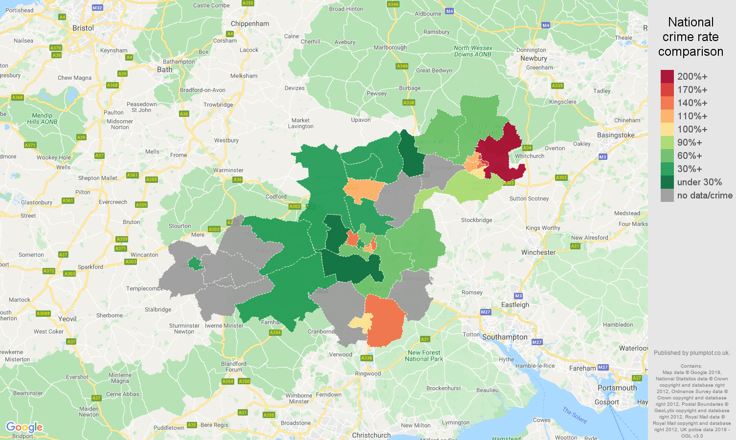 Salisbury possession of weapons crime rate comparison map