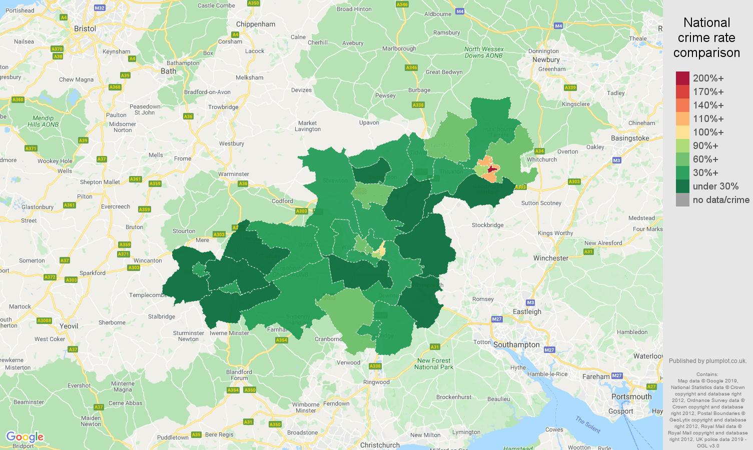 Salisbury public order crime rate comparison map