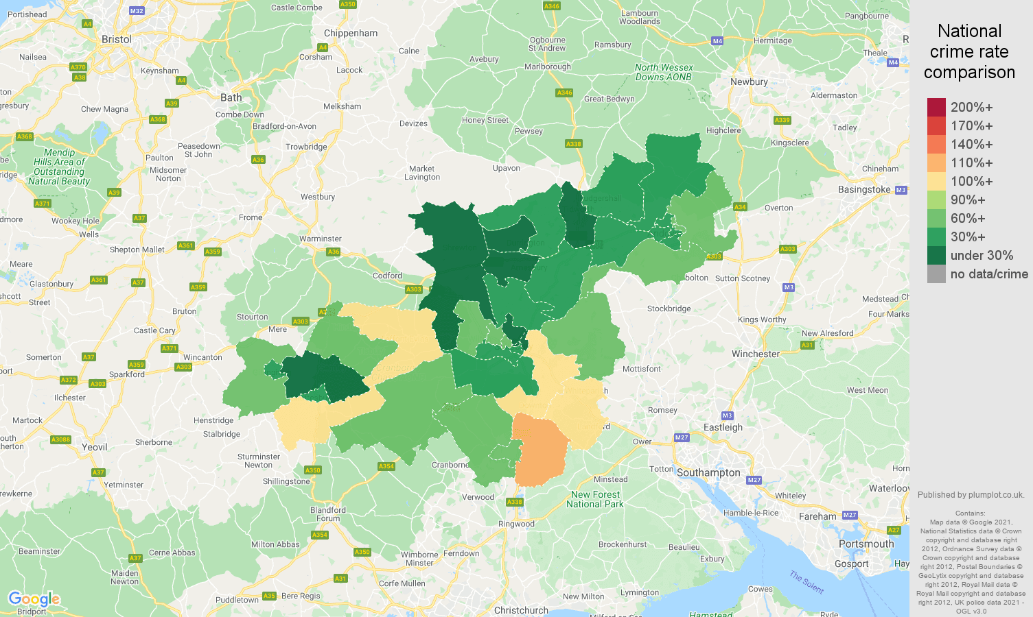 Salisbury vehicle crime rate comparison map