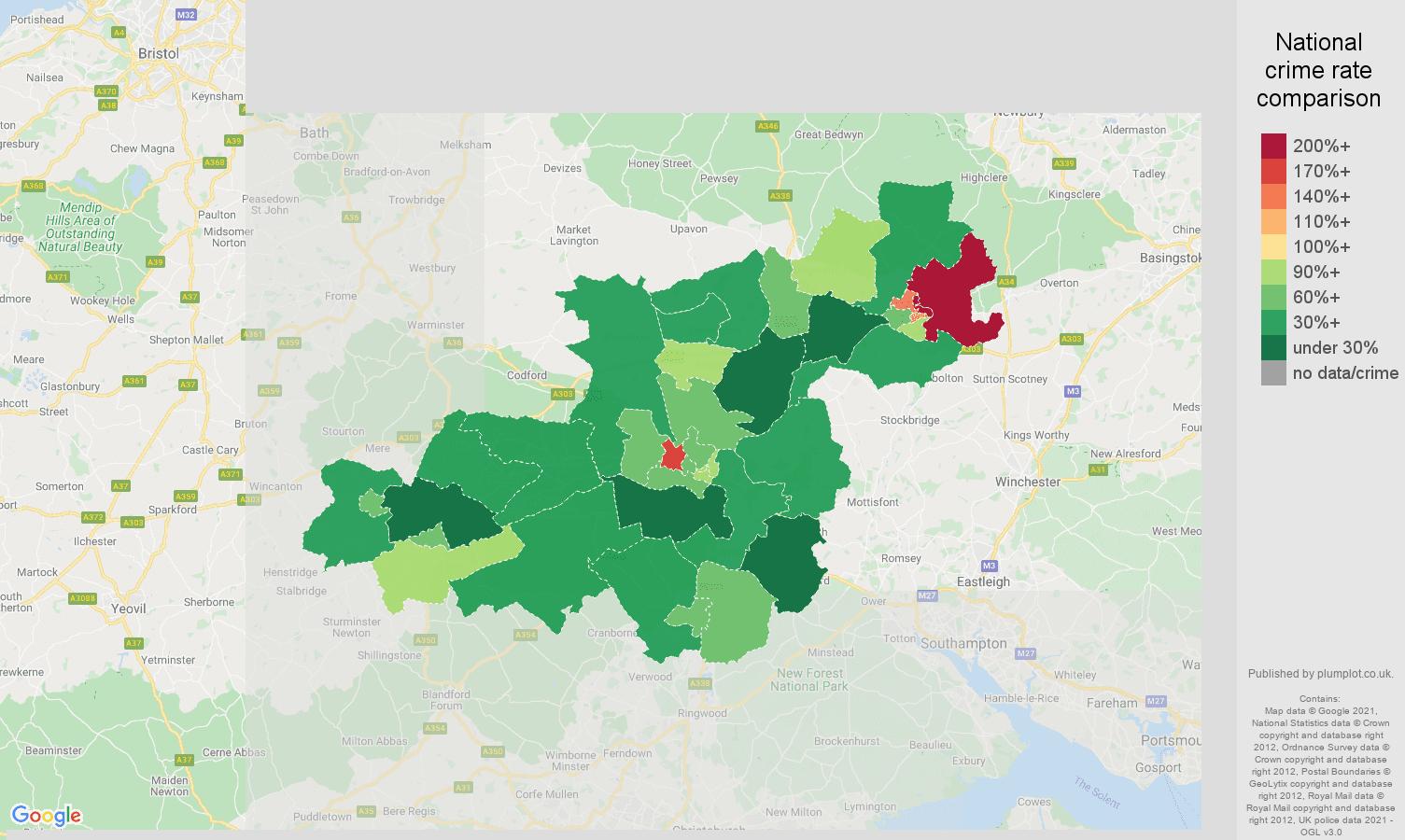 Salisbury violent crime rate comparison map