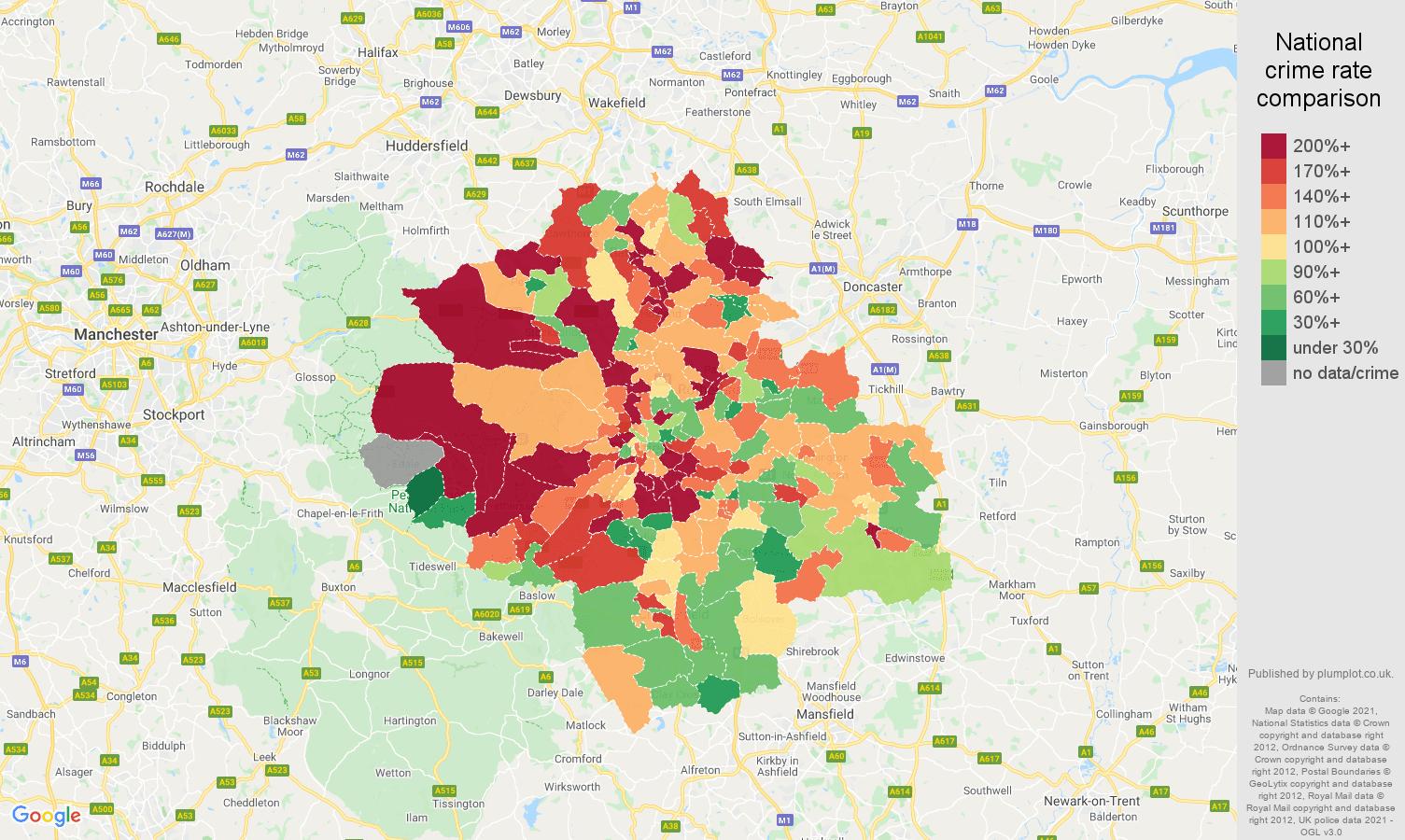 Sheffield burglary crime rate comparison map