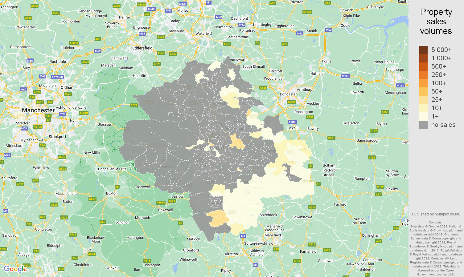Sheffield map of sales of new properties
