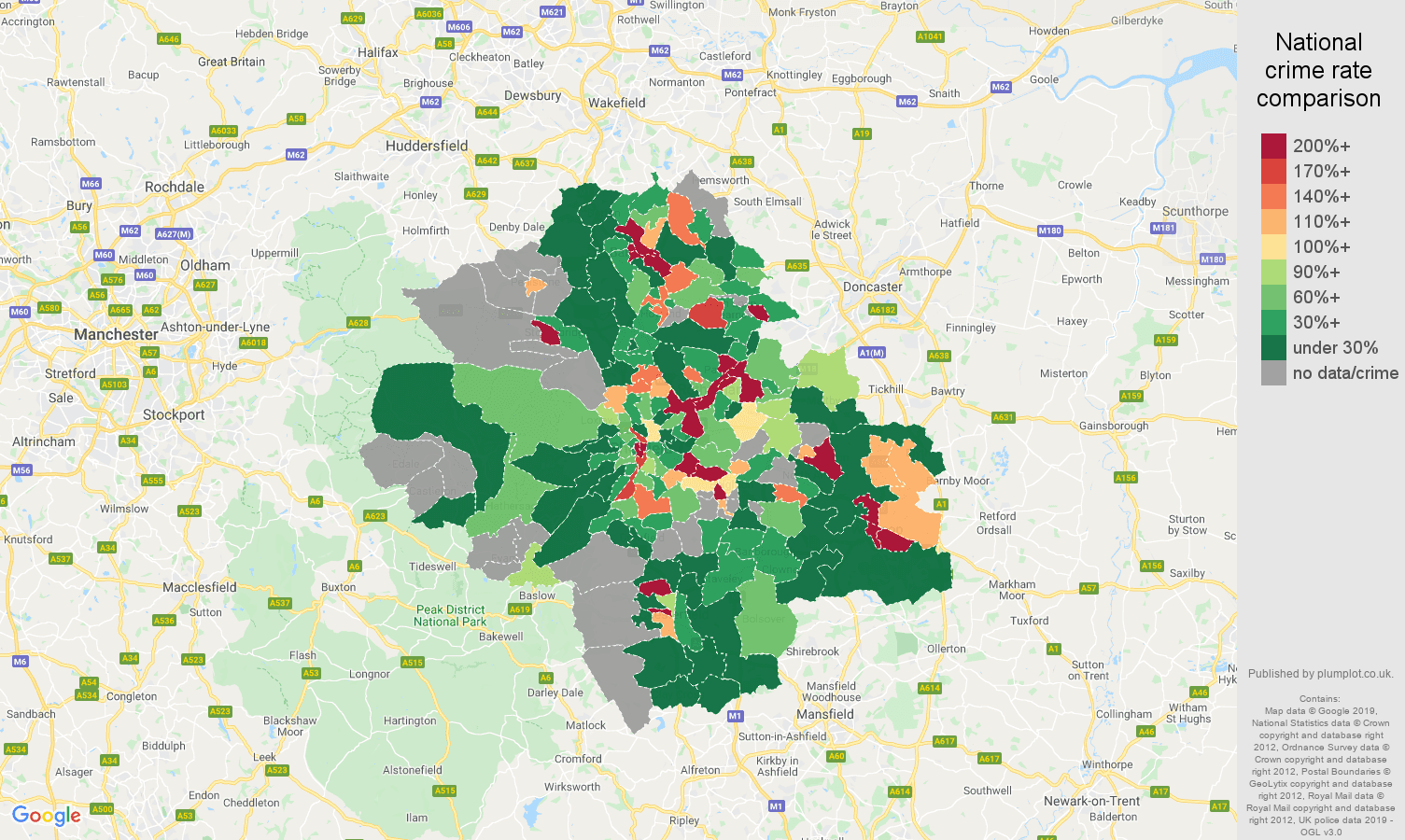 Sheffield shoplifting crime rate comparison map