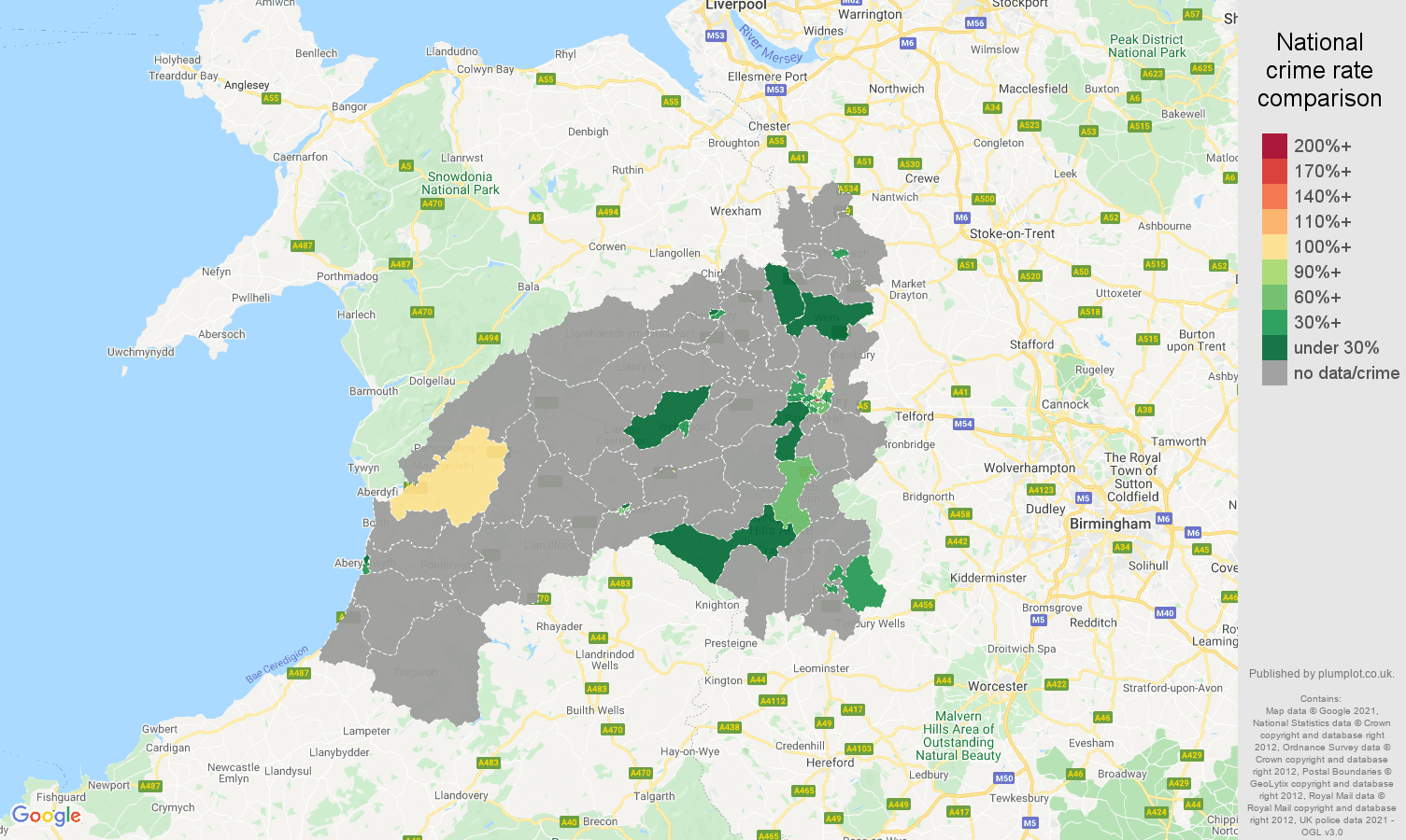 Shrewsbury bicycle theft crime rate comparison map
