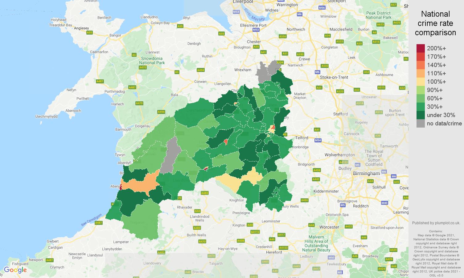 Shrewsbury drugs crime rate comparison map