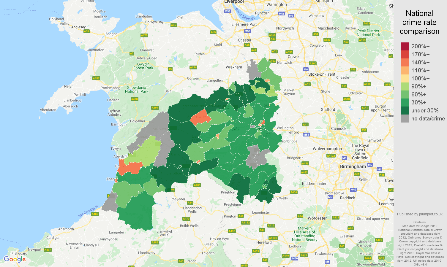 Shrewsbury other crime rate comparison map