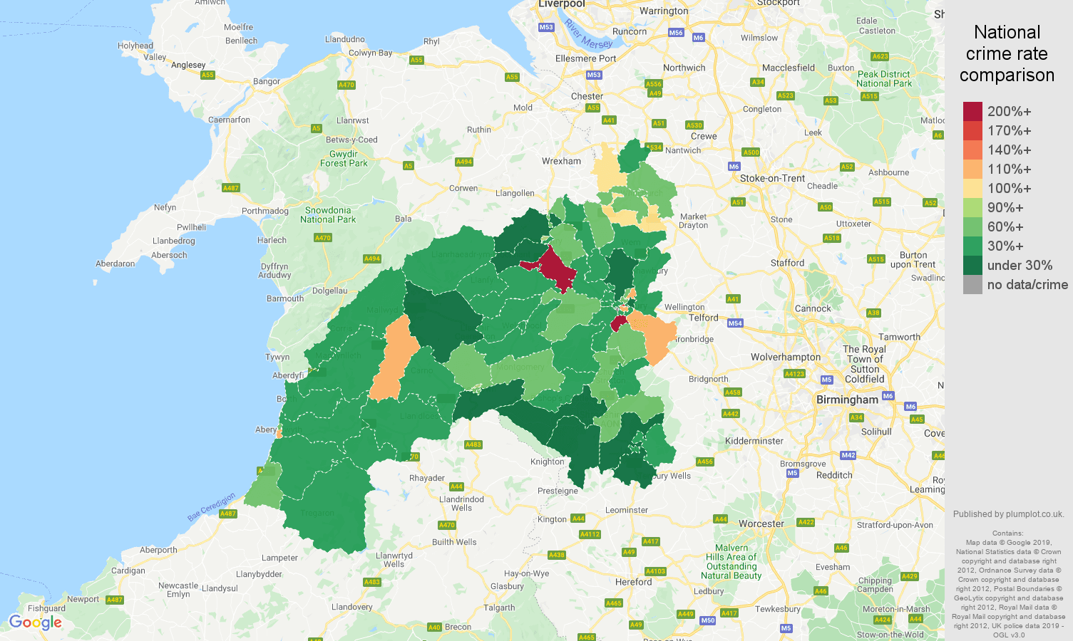 Shrewsbury other theft crime rate comparison map