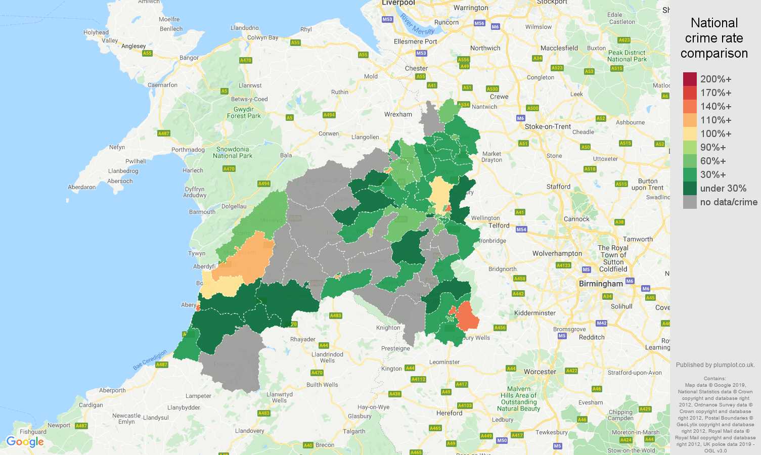 Shrewsbury possession of weapons crime rate comparison map